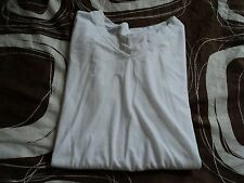 PLUS SIZE 1X Womens Athletic Knit Top DANSKIN Solid White Short Sleeve GINASS