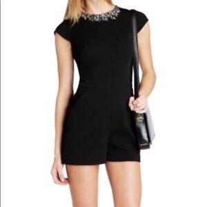 TED BAKER Jewelled Neckline Black Playsuit Romper 0 NWOT ASO PLL RRP $315
