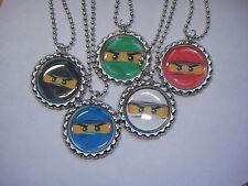 10 ninjago faces  necklaces party favors ball chain  flattend bottle cap