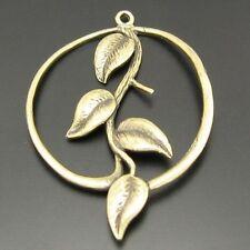 11pcs Antique Style Bronze Tone Brass Round Branch Leaf Pendant Charms 32mm