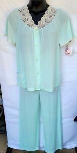 Shadowline Womens Size 34 Pajamas Set Aqua Mint Lace Collar Pocket New With Tags