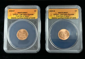 2009-P D Lincoln Cent ANACS MS67 Log Cabin Reverse First Day Set Of 2