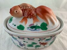 CHINESE JAPANESE ASIAN PORCELAIN BOWL LID 3D GOLD FISH TOP HAND PAINTED LOTUS