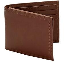 Pery Ellis Men's Leather Oil Tan Flat Luggage Bifold Wallet