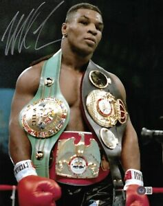 Mike Tyson Autographed 11x14 Boxing Photo with Belts Signed Beckett BAS
