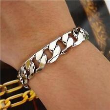 "9"" 10mm 18K White Gold Plated Curb Chain Bracelet Men's Next Day Birthday Gift"