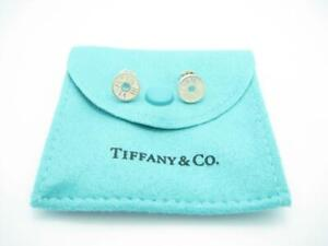 Tiffany & Co. Sterling Silver Atlas Roman Numeral Notes Stud Earrings - A