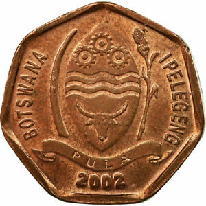 [#674119] Coin, Botswana, 5 Thebe, 2002, British Royal Mint, VF(20-25), Copper