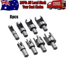 8X Carbon Steel Wood Plug Hole Cutter Dowel Maker Cutting Shank Drill Bit Set AU