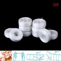 50m 10rolls white dental flosser oral hygiene floss teeth cleaning clean wax BDN