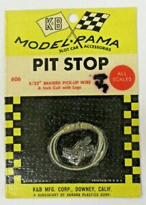 "Aurora K&B #606 3/32"" BRAIDED PICK-UP WIRE 6"" coil w/lugs  slot car MINT on card"