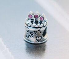 HANDMADE SILVER EUROPEAN Charm Bead for Bracelet HAPPY BIRTHDAY CAKE PINK H12