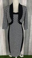 R&M Richards Black & White Plisse Pencil Dress & Jacket Size UK 12 US 8