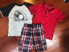 Boys Gymboree Blue Red Madras Shorts And Baseball T Shirt Red polo 7 8