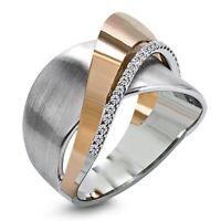 Kreativ Damen Weiß Saphir Ring Rose Gold Zweifarbig Bogen Ehering Hochzeit Ringe