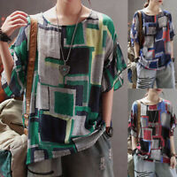 UK Women Oversize Short Sleeve Check Print Casual Top Shirt Ladies O-Neck Blouse