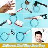 Through Head Headband Prank Hoop Horror Bloody Hair Band Halloween Party  US