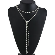Fashion Women Crystal Rhinestone Pearl Diamante Choker Clavicle Chain Necklace