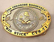 USS Theodore Roosevelt Custom made Navy Belt Buckle CVN-71 (Solid Brass) Gold
