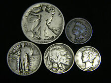 Old U.S. Silver Coins 5 Coin Collection Set 1917-1937