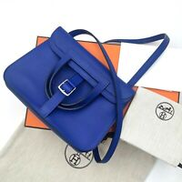NEW Hermes 2018 Blue Electric Halzan Mini 22 Swift Leather Shoulder Bag Handbag