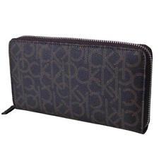 Calvin Klein Women's Zip Around Continental Wallet Ck Logo Monogram Brown 79468