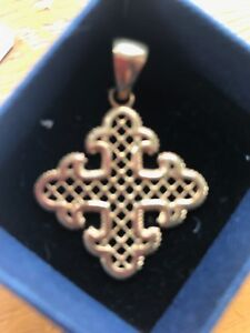 New Gold Plated Solid  Silver Italian Silver  Fancy Cross