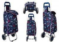 "22"" Dog Print Folding Wheeled Lightweight Shopping Trolley Cart Luggage Bag Case"