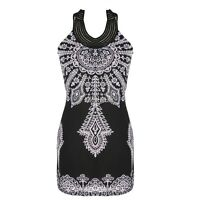 Exotic Totem Vintage Stand Collar Sleeveless Mini Dress UTAR