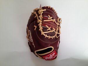 "Rawlings Gamer Baseball Glove GJW7GLE3 Wine Camel First Base Player 11.5"" Youth"