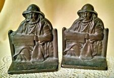 CAPE COD FISHERMAN BOOKENDS SET 2 1928 CAST IRON METAL CONNECTICUT FOUNDRY VTG.