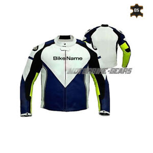 Mens Racing Motorcycle Motorbike Jacket two tone florescent yellow and blue