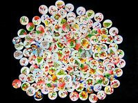 50 Pc 15mm WOODEN BUTTONS Xmas Christmas Mix Card Making Sewing Craft M44