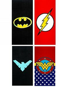 Warner DC Comics Beach Towel Batman Superman Flash Wonder Woman Aqua man Green