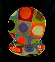 "Urban Dots by Pier 1 SALAD PLATES Stoneware 8 3/8"" Set of 2"