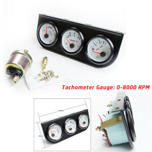 2'' 52mm Car Triple Gauge 3 in 1 Tachometer RPM Water Temp Oil Pressure + senser