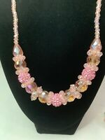 Vintage Multi Strand Pink CRYSTAL Round Tubular Beaded Necklace And Earrings