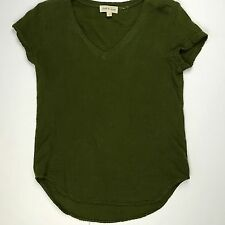 NWOT CLOTH & STONE V-NECK SHORT SLEEVE TOP BLOUSE OLIVE ARMY GREEN Sz S SMALL
