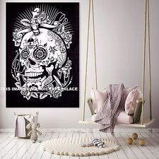 Black and White Halloween Tapestry Home Decor Skull Art Wall Hanging Indian