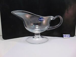 Clear Glass Pedestal Footed Gravy Boat  with Spout Luigi Bormioli 16 oz