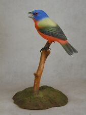 Painted Bunting Original Wood Carving