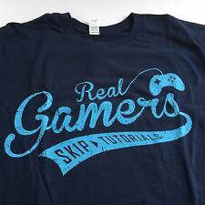 "Blue Gaming T Shirt w ""REAL GAMERS SKIP TUTORIALS"" Funky Grunge Text XL Runs Sml"