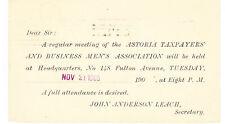 ASTORIA TAXPAYERS & BUSINESS MENS ASSOCIATION 1905 MEETING INVITE, LIC, NY
