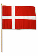 "12x18 12""x18"" Wholesale Lot of 6 Denmark Stick Flag wood staff"