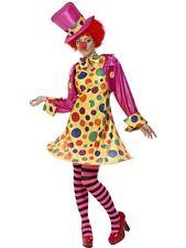 ADULT WOMENS CIRCUS CLOWN COLOURFUL LADY COSTUME FUNNYSIDE FANCY DRESS - XLARGE