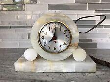Vintage Art Deco French Marble Desk Mantel Clock