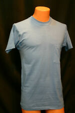 NOS Mens S Vtg 1970s USA BLUE 100% Cotton BLANK Fruit of the Loom T-Shirt 70s