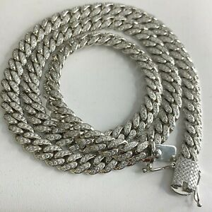 925 STERLING SILVER  DIAMOND MIAMI CUBAN CURB ICY CHAIN NECKLACE 9MM