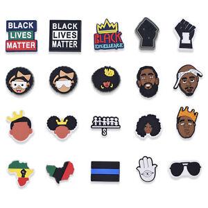 50pcs Black Lives Matter Shoe Charms AFRO WOMAN/Men BLM Adapts fit Clog Kid Gift