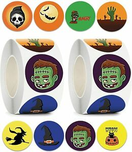 Halloween Stickers Ghosts Pumpkins Spiders Trick or Treat Witches Spooky Labels